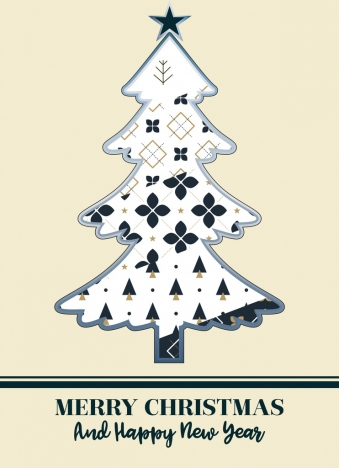 christmas background white fir tree icon flat design