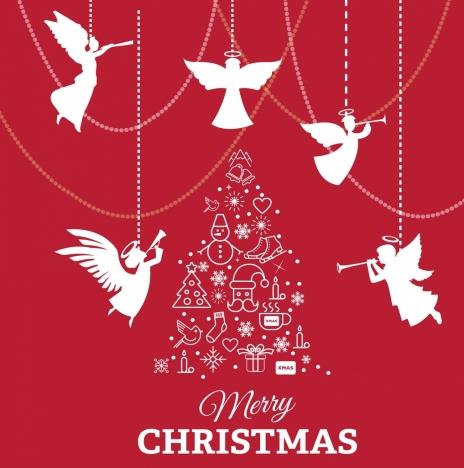 christmas banner angle silhouette baubles fir tree decor