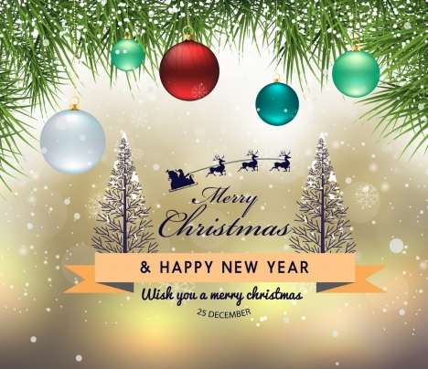christmas banner colorful baubles snow icons bokeh decor