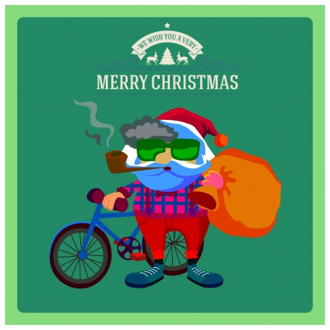 christmas banner design with hipster smoking santa claus