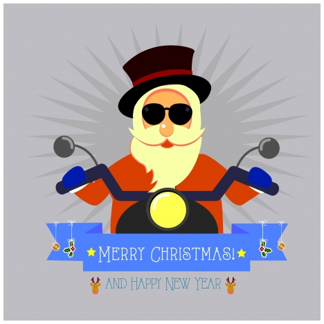 christmas banner design with stylish santa riding motorcycle