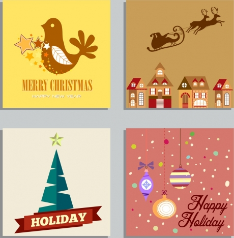 christmas banner sets bauble fir tree santa icons