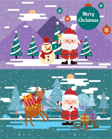 christmas banner sets with santa in snow illustration