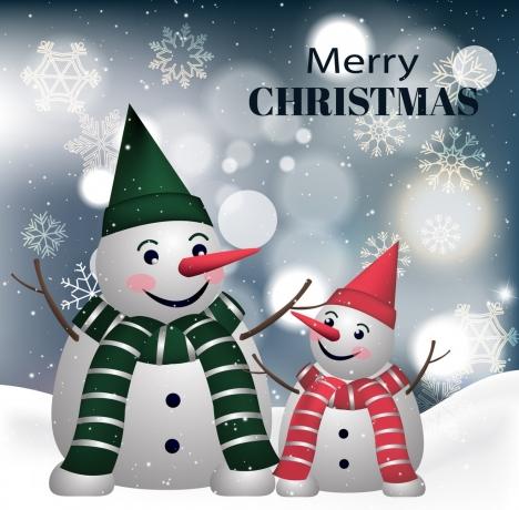 christmas banner snowman icons decor bokeh snowflakes backdrop