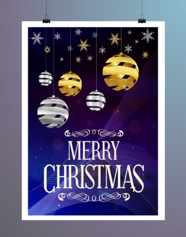christmas banner star sphere icons bokeh violet backdrop