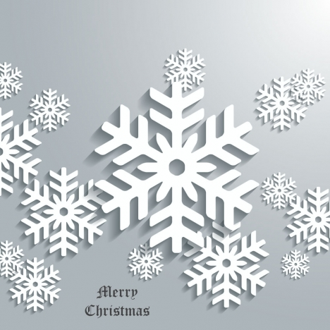 christmas banner with white flakes on grey background