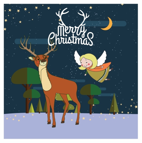 christmas card design with reindeer and angel