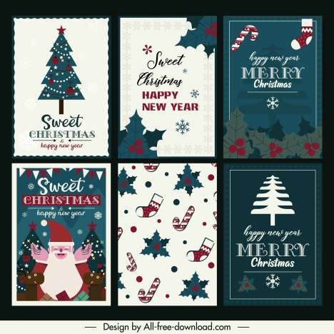 Christmas Card Templates Classical Flat Symbols Decor Vectors Stock In Format For Free Download 4 26mb