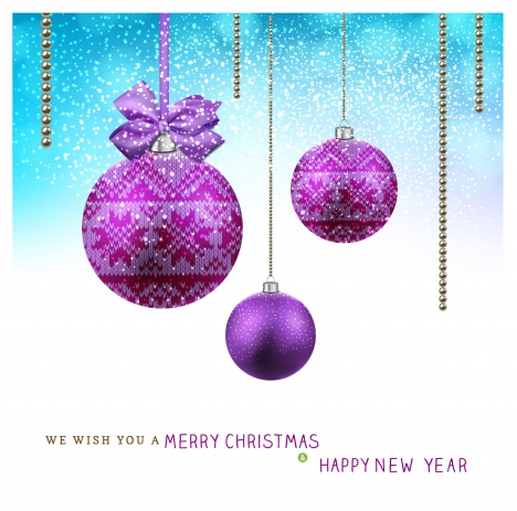 christmas card with hanging violet balls background