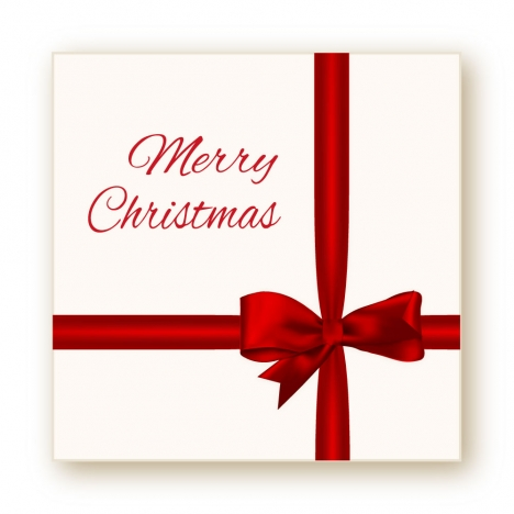 christmas card with red bow background