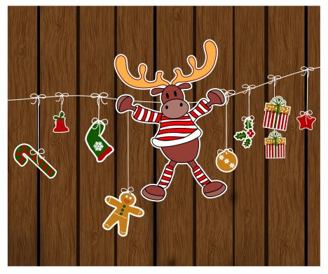 christmas decor wooden background