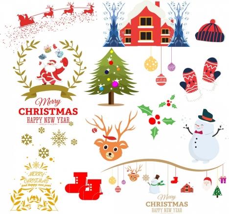 christmas design elements classical symbols colored flat design