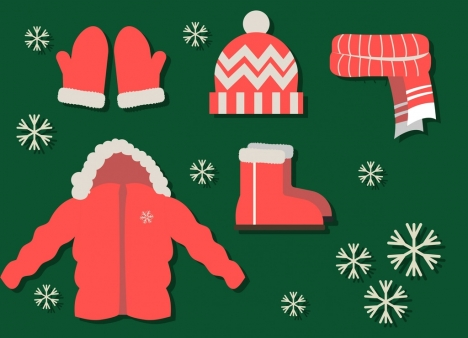 christmas design elements red clothing icons design