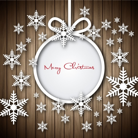 Christmas Greeting With Snowflakes And Wooden Plank Background