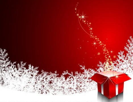 Christmas illustration with gift box