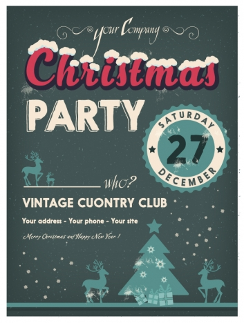 christmas party banner design with dark background