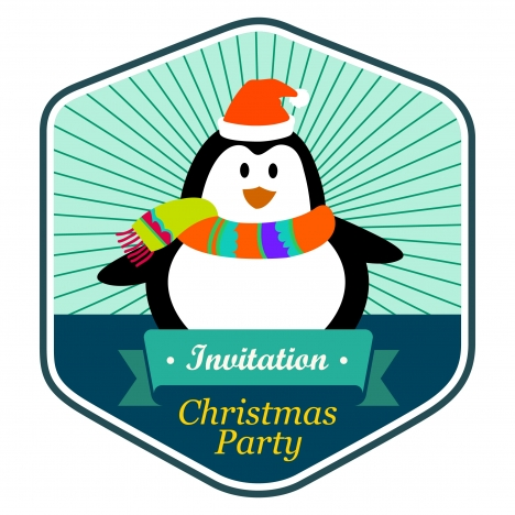 christmas party invitation card design with cute penguin