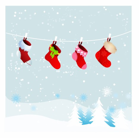 Christmas retro stockings in winter nature