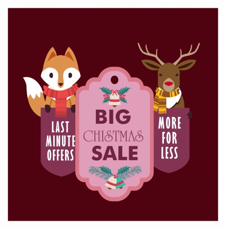 christmas sale banner design with stylized animals
