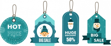 christmas sales tags collection in blue design