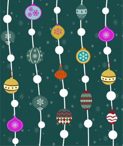 christmas seamless pattern hanging decoration baubles style