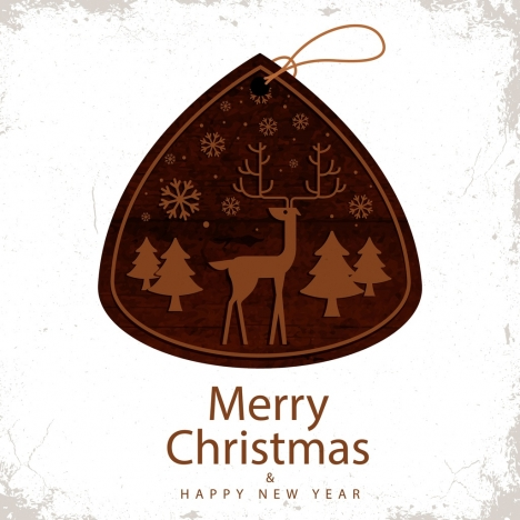 christmas tag template brown classical wooden design