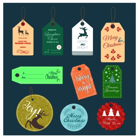 christmas tags collection design with x mas symbols