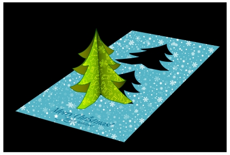christmas template design with 3d fir tree card