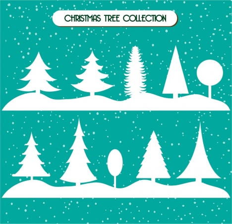 christmas trees collection in white silhouette style