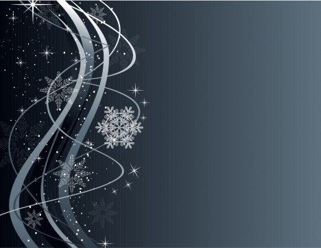 Christmas Wave Background with Snowflake Ornaments