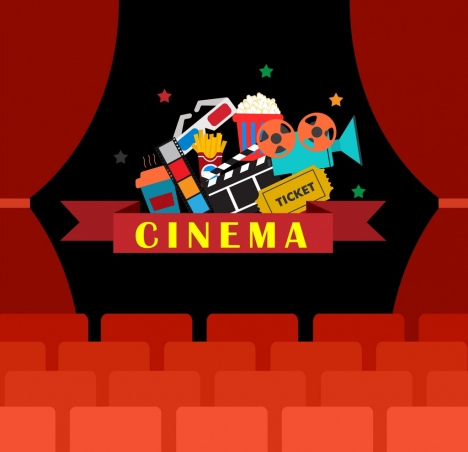 Cinema background theater stage icon decoration colorful for Auditorium stage decoration