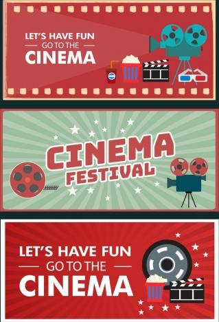 cinema banner templates colorful horizontal design various symbols
