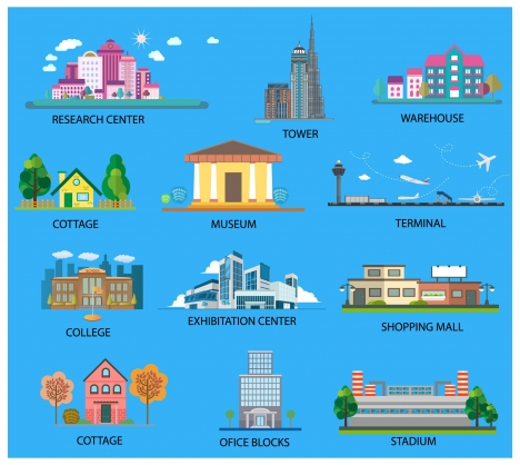 city architectures collection illustration with various projects