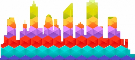 city background colorful polygon style decoration