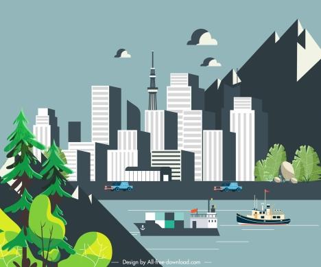 city scene painting modern buildings riverside mountain sketch