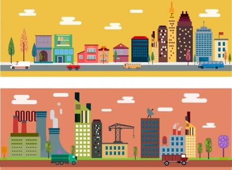 city scheme sets flat colored design