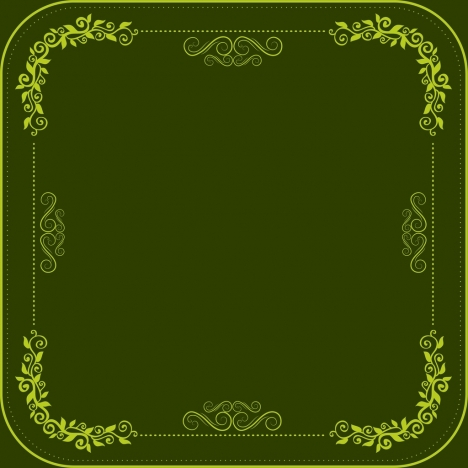 classical border template dark green design seamless curves