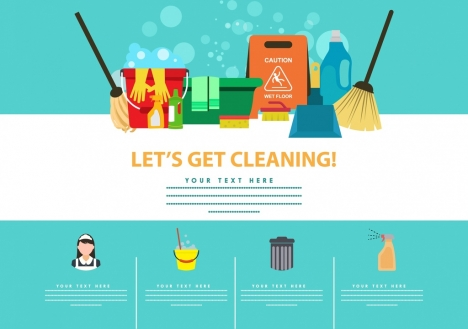 cleaning poster colored accessories icons decoration
