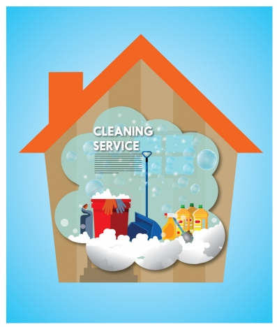 cleaning service banner with households sets illustration