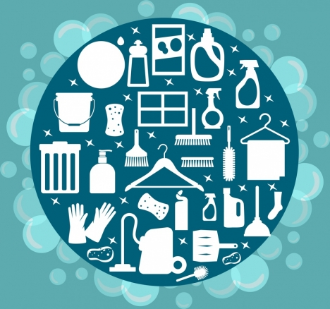 cleaning service design element utensils icons white silhouette