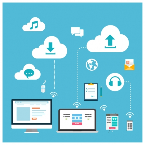 cloud service concept design with infographic style