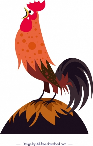 cock crow painting colored cartoon design