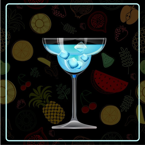 cocktail advertisement glass icon fruits backdrop