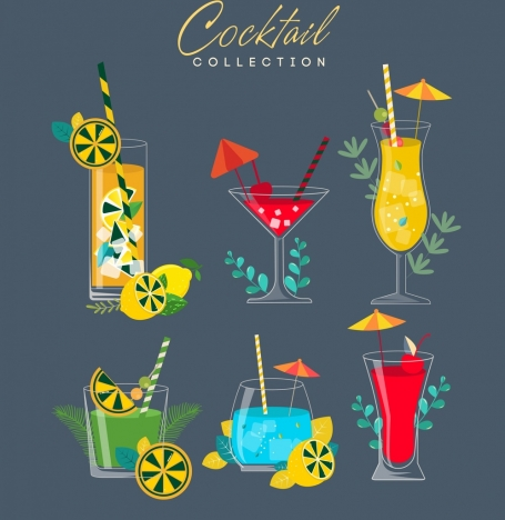 cocktail advertising banner beverage glass icons multicolored decor