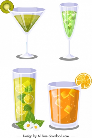 cocktail glasses icons kiwi orange decor modern design
