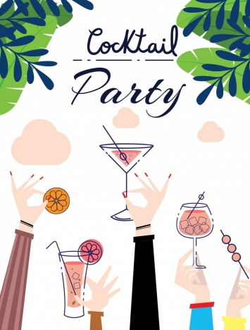 cocktail party banner raising hands glass icons decoration