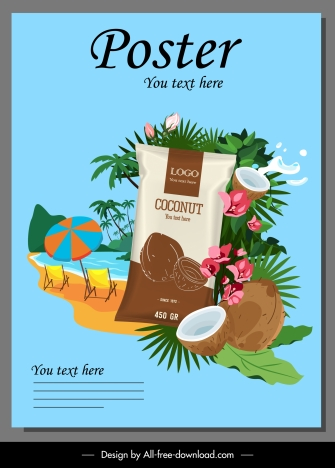 coconut advertising poster bright colorful tropical elements decor