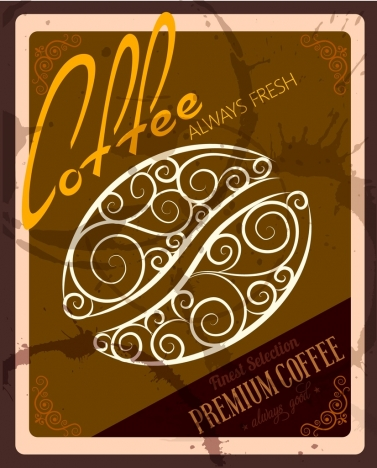 coffee advertisement brown grungy decor curved bean icon