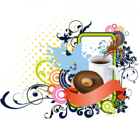 Coffee cup with cake and flora art