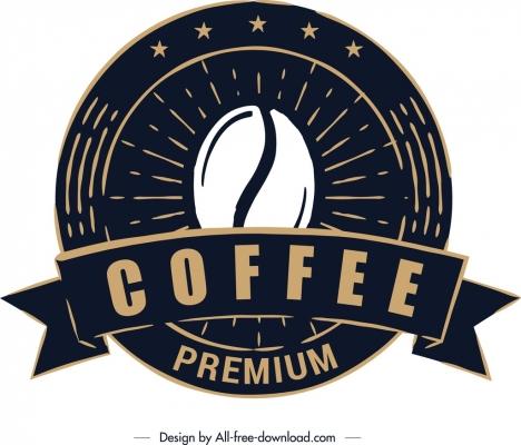 coffee label template classical black round design vectors stock in